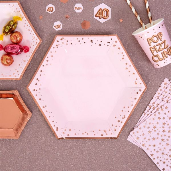 Glitz & Glamour Pink & Rose Gold Large Star Plates (8)